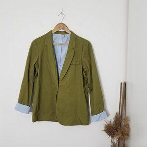 Twik | Green Blazer with Striped Flip Cuffs Medium